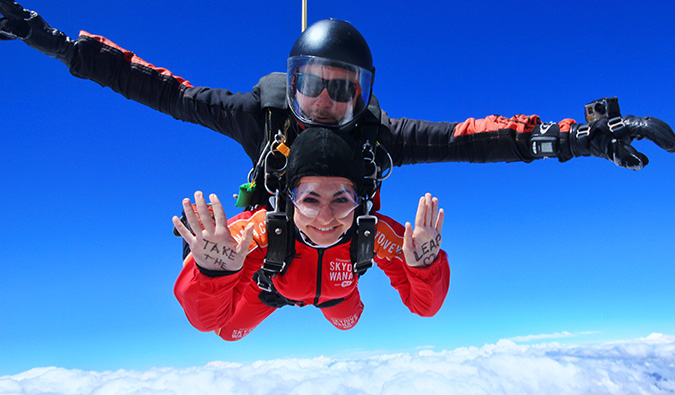 Celinne da Costa skydiving in New Zealand