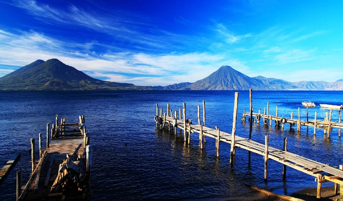 Overlooking the water and mountains of Lake Atitlan, Guatemala