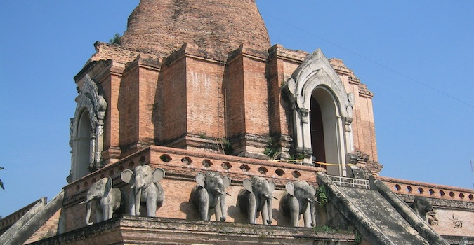 Pink stone building with elephant structures, Chiang Mai
