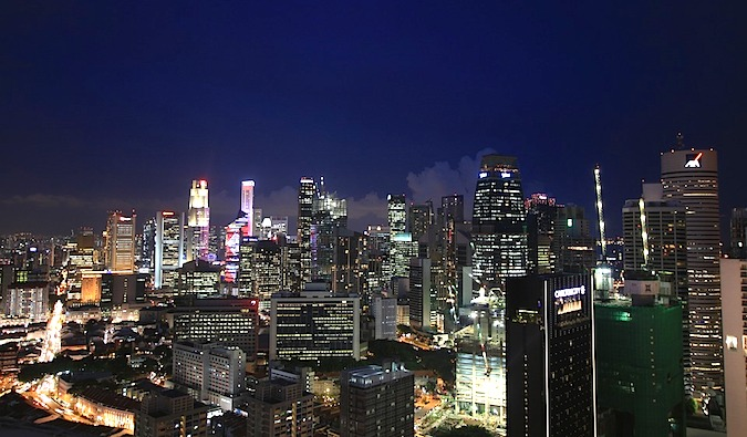 Singapore nighttime skyline