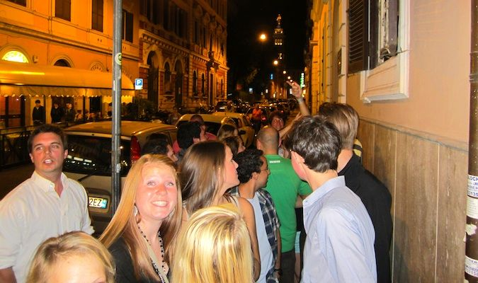 lots of people on a crazy pub crawl in europe