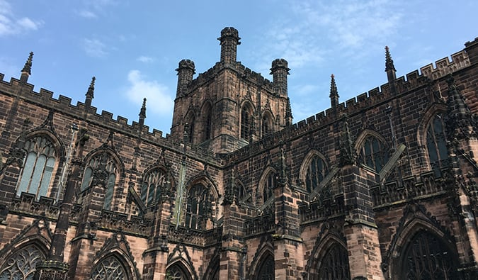 The medieval Chester Cathedral on a sunny day