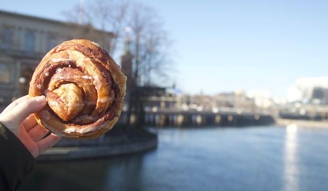 A vegan cinnamonbun in Stockholm