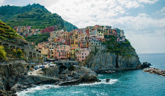The colorful houses along the coast of Cinque Terre in Italy