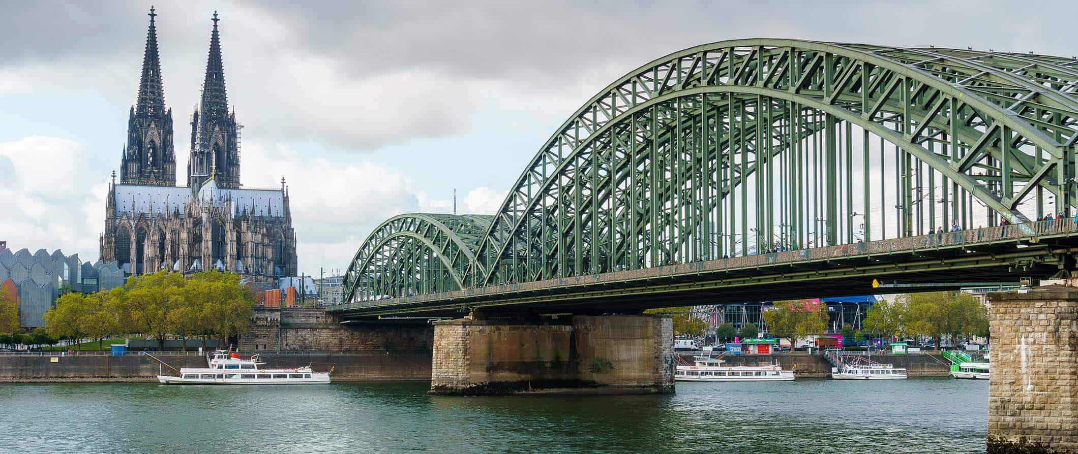 view of Cologne's cathedral and bridge