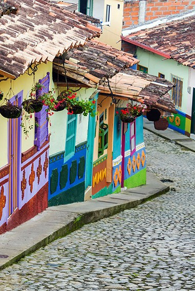 colorful streets in Bogota