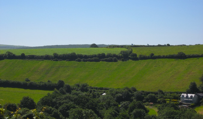 The pastoral countryside in Cornwall, England