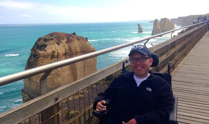Cory Lee traveling on the boardwalk in Australia