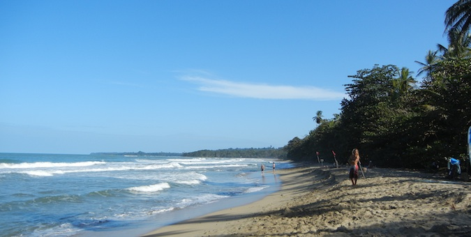 A sandy beach near Puerto Viejo in Costa Rica