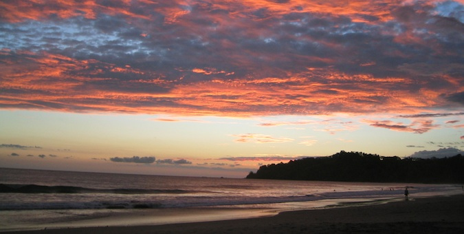 A bright sunset in Manuel Antonio, Costa Rica