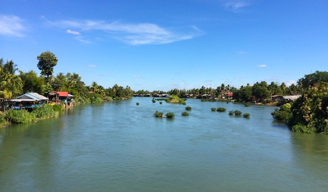 gorgeous river and town in laos