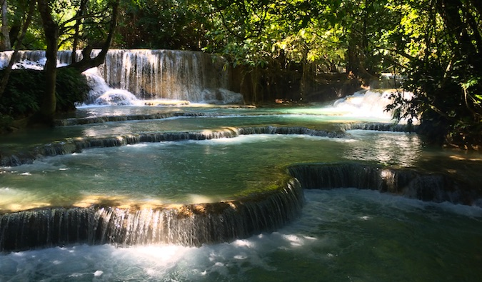 Waterfalls and sunlight in Laos