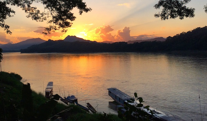 sunset and mountain in laos