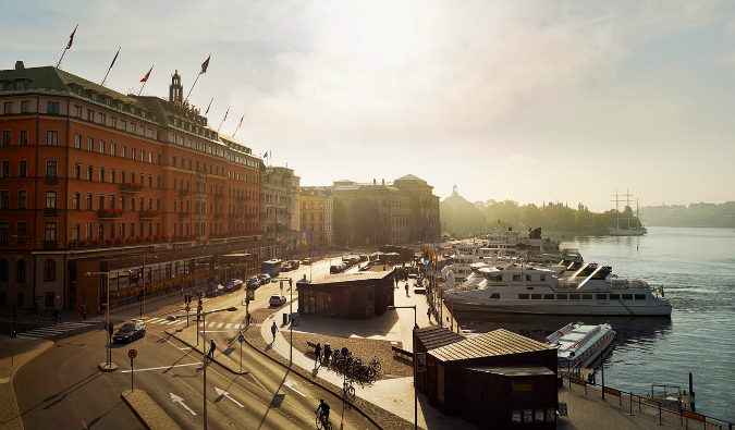 A view of the harbor and waterfront in Stockholm, Sweden during the summer