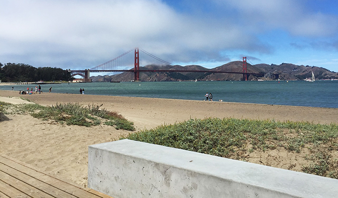 View of the ocean from Crissy Field, a great spot to go fishing in California