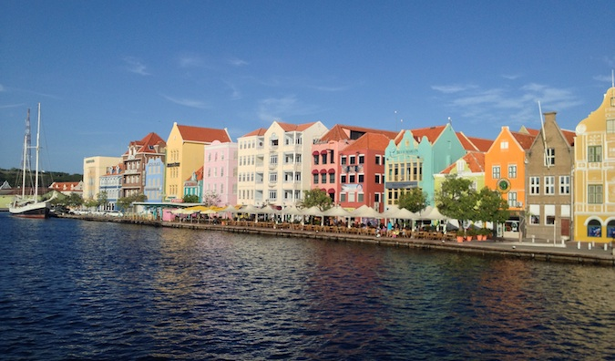 Colorful beautiful Caribbean houses clustered together on the Caribbean island of Curacao