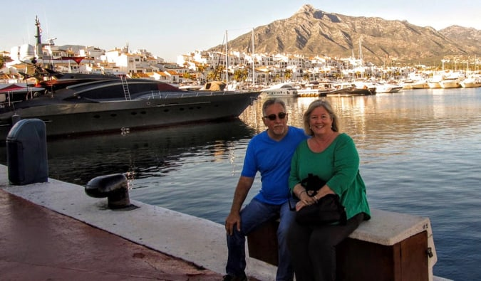 A retired couple traveling the world together