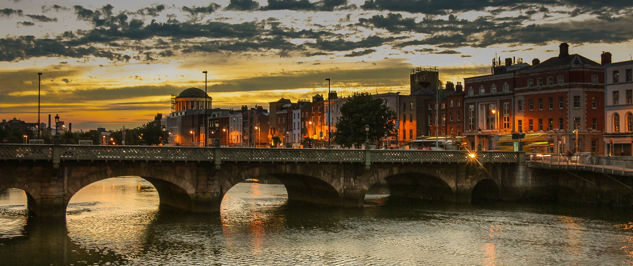 view of the Liffey River in Dublin at sundown