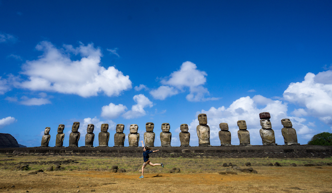 A woman dancing at a quarry where the statues were carved and the museum at Rano Kau, Easter Island