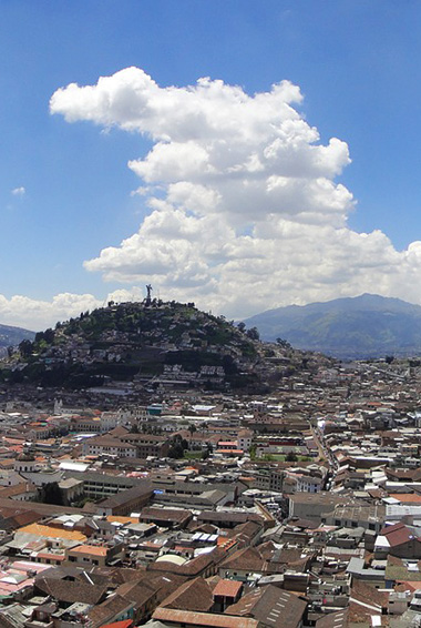 an aerial view of Quito, Ecuador and its buildings