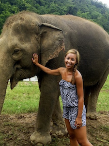 emily and an elephant in Thailand