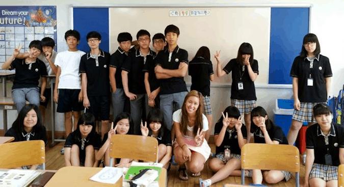 A woman teaching English in South Korea
