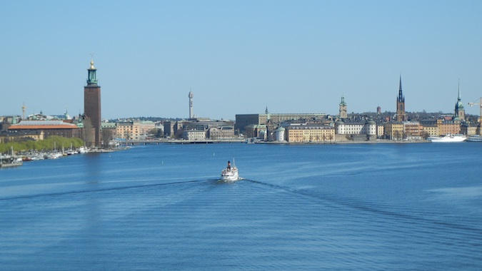 A river view of the city of Stockholm, Sweden