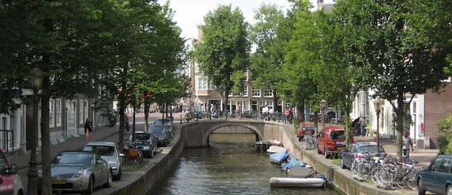 The beautiful tree-lined canals in Amsterdam