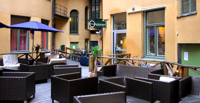 Outdoor Lounge at City Backpackers in Stockholm