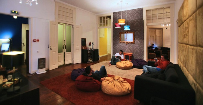 Common room at Goodnight Hostel in Lisbon