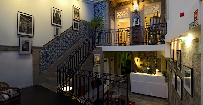 Luxury lobby of Gallery Hostel in Porto, Portugal
