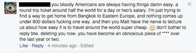 facebook comment about flight deals