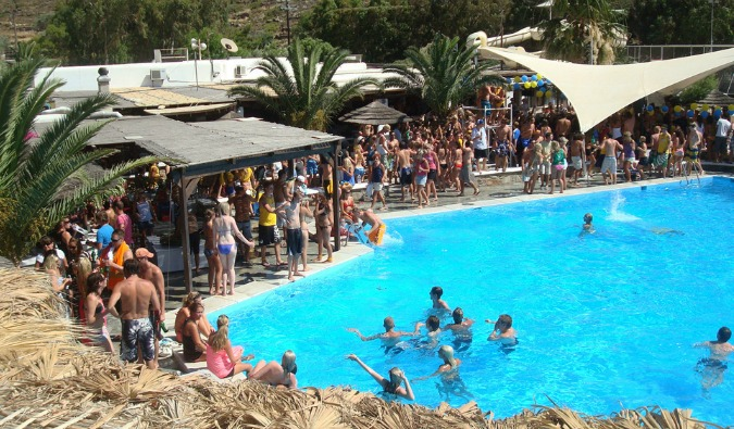 A pool party on a sunny day in Ios, Greece
