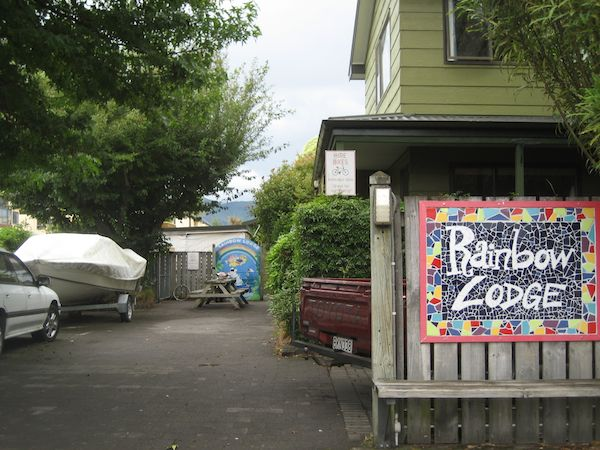 The entrance of the Rainbow Lodge, Taupo