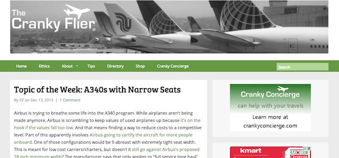The cranky flier blog screenshot