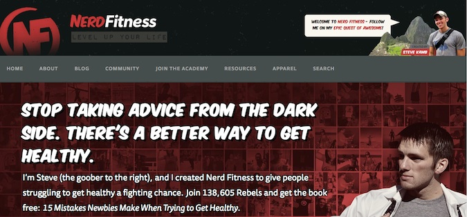 nerd fitness blog screenshot