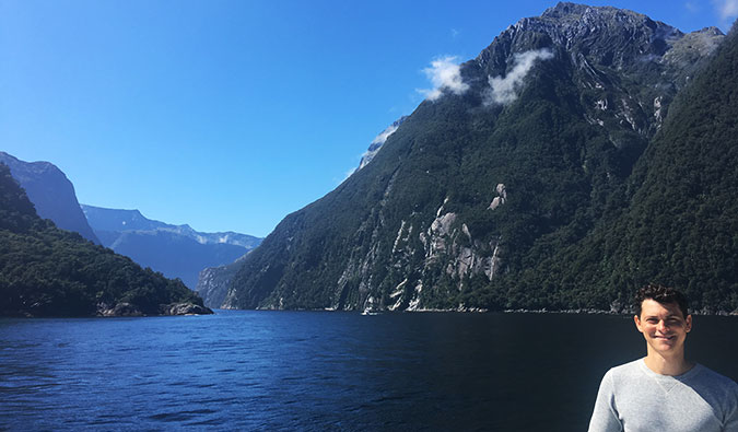 Matt on a cruise through Milford Sound