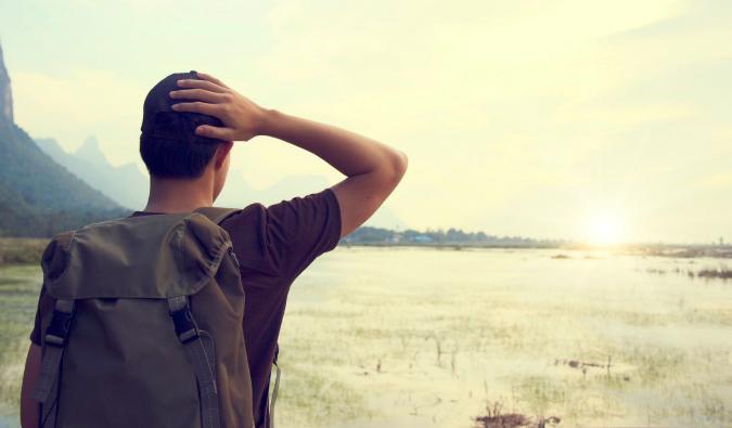 Man gazing out at landscape