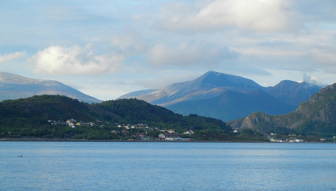 Mountainous view of the Alesund Fjord in Norway