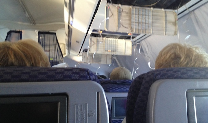 Oxygen masks after the airplane depressurized on a United Airlines flight