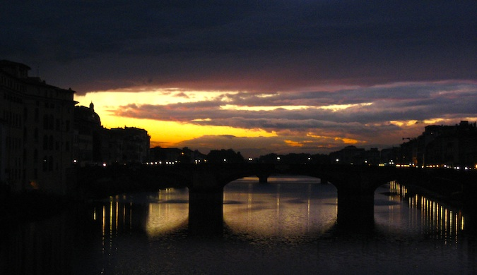 purple sunset in florence