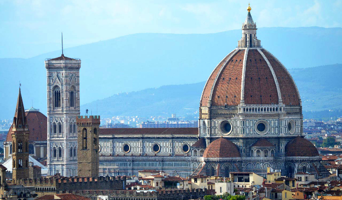 The historic skyline and famous cathedral of Florence, Italy