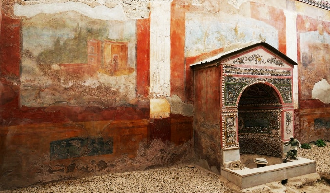 The small entrance to an ancient house in Pompeii, Italy