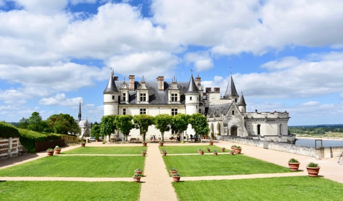 The famous Amboise chateau in France during the summer