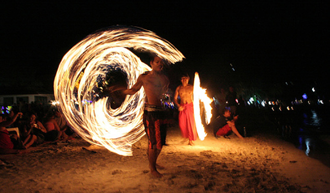 A fire dancer on Haat Rin beach in thailand