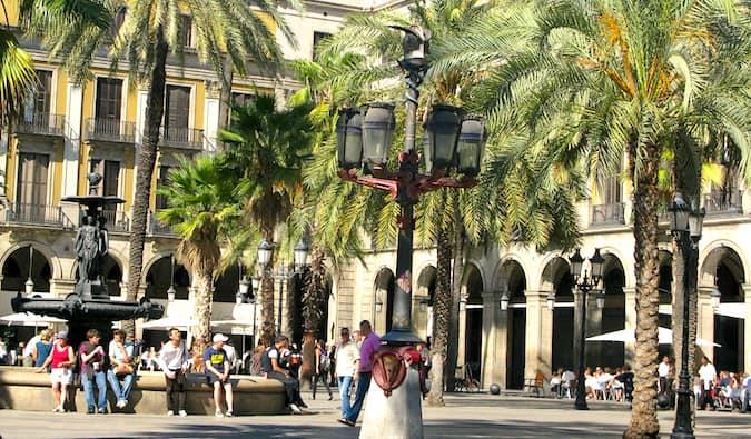 Gaudi Lamppost in Barcelona Spain