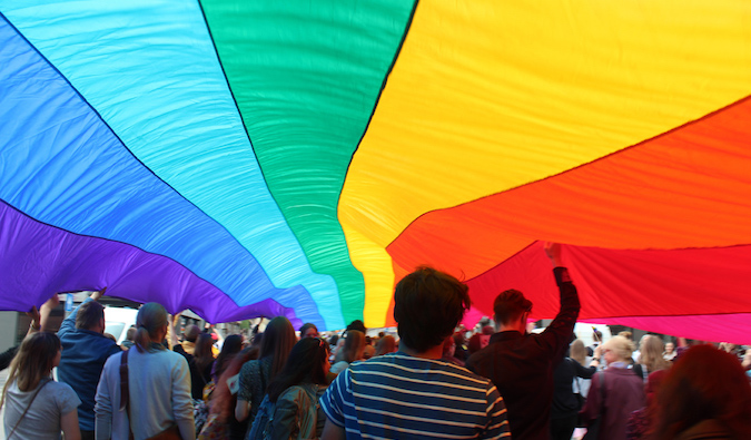 Rainbow flag at EuroPride March in Riga, Latvia in 2015 taken by Adam