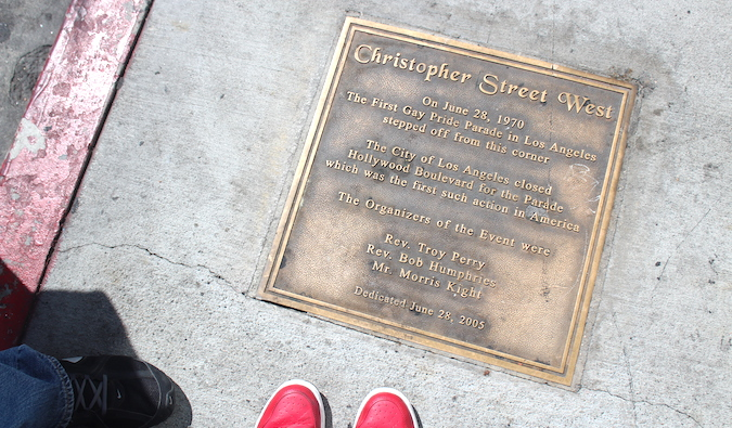 a plaque for Christopher Street, where the first gay pride parade in Los Angeles started