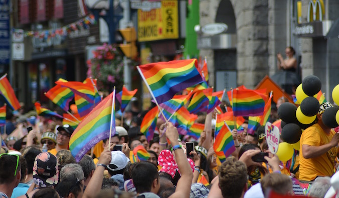 rainbow flags waving at LGBT festival