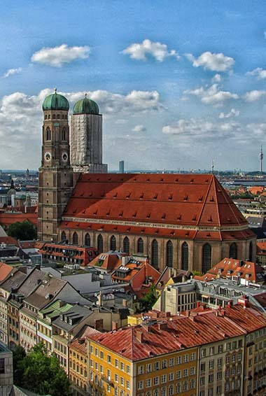 aerial view of the Cathedral in Munich